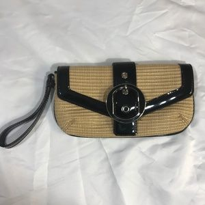 ANN TAYLOR WOVEN STRAW wicker & BLACK PATENT